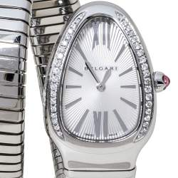 Bvlgari Silver Opaline Guilloché Soleil Stainless Steel Diamond Serpenti Tubogas 101910 Women's Wristwatch 35 mm