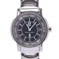 Bvlgari Black Stainless Steel Solo Tempo ST29S Women's Wristwatch 29 MM