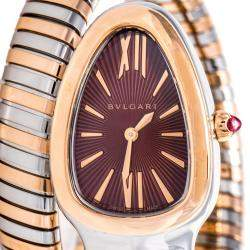 Bvlgari Brown 18K Rose Gold and Stainless Steel Serpenti Tubogas Women's Wristwatch 35 mm