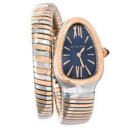 ساعة يد نسائية بلغاري سيربنتي توبوغاز ستانلس ستيل وذهب وردي عيار 18 زرقاء 35مم