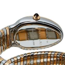 Bvlgari Silver White 18K Rose Gold Stainless Steel Serpenti Tubogas 102236 Women's Wristwatch 35 mm