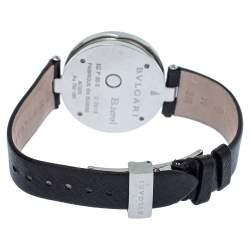 Bvlgari Black 18K Gold Leather Diamonds B.Zero1 BZ P 35 S Quartz Women's Wristwatch 35 MM