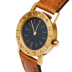 Bvlgari Black 18K Yellow Gold & Leather BB 26 GL Women's Wristwatch 26MM