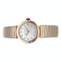 Bulgari MOP Diamonds 18K Rose And Stainless Steel Lvcea Tubogas 102954 Women's Wristwatch 33 MM