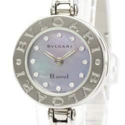 Bvlgari Blue MOP Diamonds Stainless Steel B.Zero1 Quartz Bz22S Women's Wristwatch 22 MM