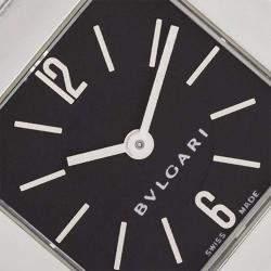 Bvlgari Black Stainless Steel Quadrato SQ22SS Women's Wristwatch 22MM