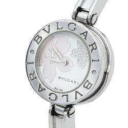 Bvlgari White Mother of Pearl Flower Motif Stainless Steel Diamonds B.Zero1 BZ22S Women's Wristwatch 22 mm