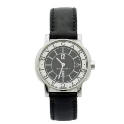 Bvlgari  Black Stainless Steel Leather Solotempo ST29S Women's Wristwatch 29 mm
