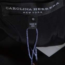 Carolina Herrera Black Silk Fit & Flare Long Skirt L