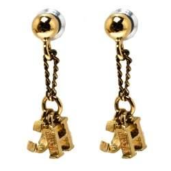 Carolina Herrera CH Gold Tone Drop Earrings