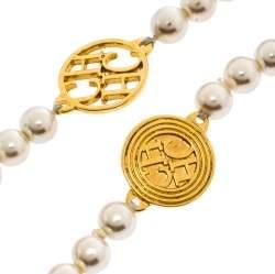 Carolina Herrera A day for Love Logo Medallion Multi Strand Station Necklace