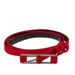 Carolina Herrera Red Fabric Slim Buckle Belt