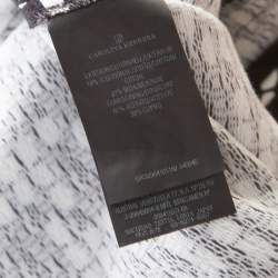 CH Carolina Herrera Black and White Printed Silk Blend Portrait Collar Dress M