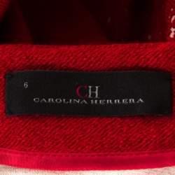 Carolina Herrera Red Textured Wool Short Sleeve Pencil Dress M