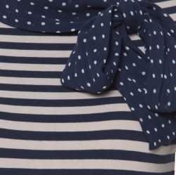 CH Carolina Herrera Blue and Beige Striped Cotton Jersey Necktie Detail Top XS