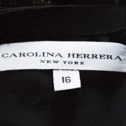 Carolina Herrera Green and Black Jacquard Skirt XL