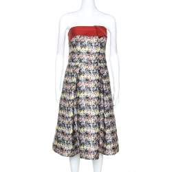 Carolina Herrera Multicolor Jacquard Strapless Dress L