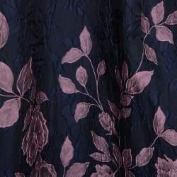 Carolina Herrera Navy Blue Floral Jacquard Off Shoulder Gown L