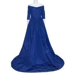 Carolina Herrera Royal Blue Silk Off Shoulder Gown L