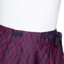 CH Carolina Herrera Bicolor Printed Cotton Pleated Skirt M