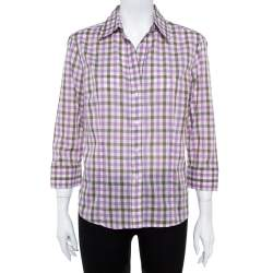 CH Carolina Herrera Purple Checked Cotton Long Sleeve Shirt L