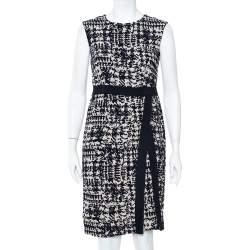CH Carolina Herrera Navy Blue & Beige Wool Jacquard Sleeveless Sheath Dress M