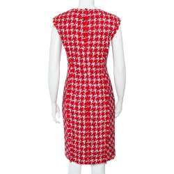 CH Carolina Herrera Red Tweed Sleeveless Sheath Dress M
