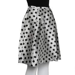 CH Carolina Herrera Monochrome Polka Dot Satin Box Pleated Short Skirt XS