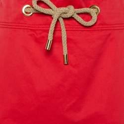 CH Carolina Herrera Vintage Red Cotton Waist Tie Detail Knee Length Skirt L
