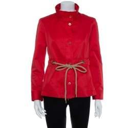 CH Carolina Herrera Vintage Red Cotton Zipper Front Waist Tie Detail Jacket M