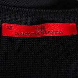 CH Carolina Herrera Black Knit Ruffle Detail Midi Dress XS