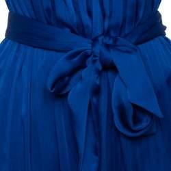 CH Carolina Herrera Royal Blue Satin Pleated Sleeveless Maxi Dress S
