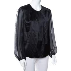CH Carolina Herrera Black Satin Pleated Detail Top L