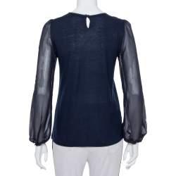 CH Carolina Herrera Navy Blue Wool & Silk Top XS