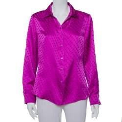 CH Carolina Herrera Purple Polka Dot Silk Button Front Shirt XL