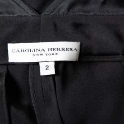 Carolina Herrera Black Crepe Pleated Palazzo Pants S