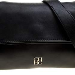 Carolina Herrera Black Leather Chain Shoulder Bag