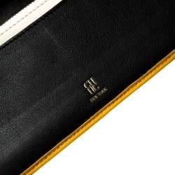 Carolina Herrera Mustard Quilted Leather Flap Wallet