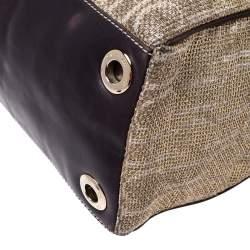 Carolina Herrera Gold/Brown Tweed and Leather Tote