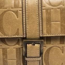 Carolina Herrera Beige Monogram Leather Buckle Flap Compact Wallet