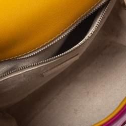 Carolina Herrera Tricolor Leather Camelot Top Handle Bag