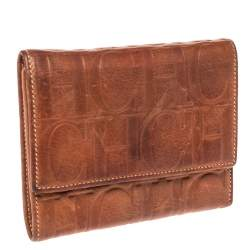 Carolina Herrera Brown Embossed Leather Trifold Compact Wallet