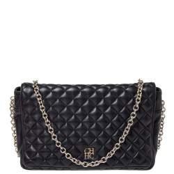 Carolina Herrera Black Quilted Leather Flap Chain Shoulder Bag