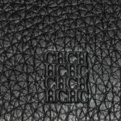 Carolina Herrera Black Monogram Embossed Leather Flap Continental Wallet