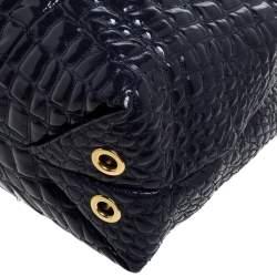 Carolina Herrera Purple Croc Embossed Patent Leather Tote