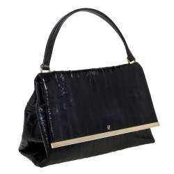 Carolina Herrera Black Leather Camelot Top Handle Bag