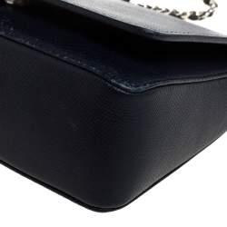 Carolina Herrera Navy Blue Leather  Flap Shoulder Bag