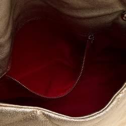 Carolina Herrera Gold Embossed Leather Metal Flap Shoulder Bag