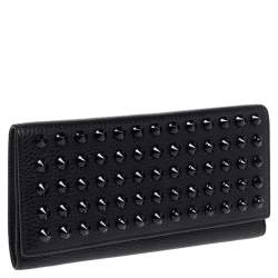 Carolina Herrera Black Studded Leather Trifold Continental Wallet