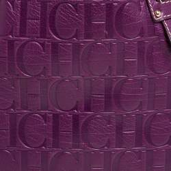 Carolina Herrera Purple Embossed Leather Open Tote